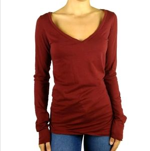 Theory rust brown wide v neck long sleeve top